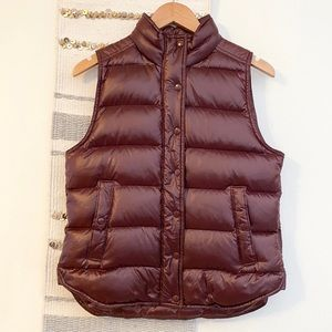 J CREW Shiny Puffer Down Vest Full Zip Button Up